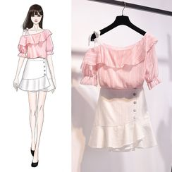 Termane - Cold-Shoulder Striped Ruffled Short-Sleeve Blouse / Flared Hem Mini A-Line Skirt / Set