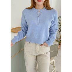 chuu - Zip-Front Crop Woolen Sweater