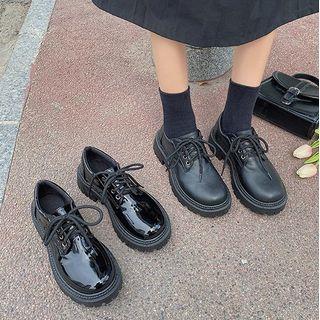 Bolitin - Faux Leather Platform Lace-Up Shoes