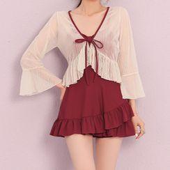 Oleil - 套装: 抽褶镂空荷叶连衣泳裙 + 罩衫
