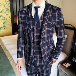 百高 - 套裝: 格子單扣西裝外套 + 單排扣馬甲 + 西褲