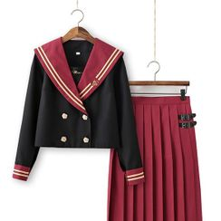 Nanachan - Sailor Collar Blouse / Cardigan / Pleated Skirt / Set