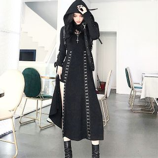 Zepto - Lace-Up Cropped Hoodie / Spaghetti Strap Hook and Eye Midi A-Line Dress