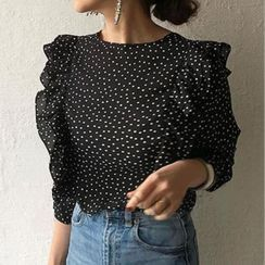Hazie - Frill-Trim Dotted Blouse