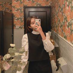 CHERRYKOKO - Button-Back Vest & H-Line Midi Skirt Set