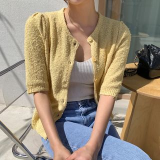 Envy Look - Short-Sleeve Textured Cardigan