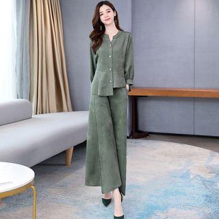 Romantica - 套装: 灯笼袖衬衫 + 宽腿裤