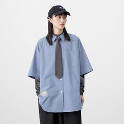 Imayo - Elbow-Sleeve Plain Shirt
