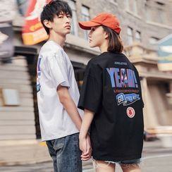 Igsoo - Couple Matching Set: Elbow-Sleeve Lettering Print T-Shirt