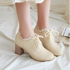 Freesia - Lace-Up Ruffled Chunky-Heel Shoes