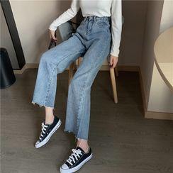 Vallepop - Washed Cropped Wide-Leg Jeans
