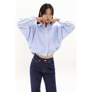 SIMPLY MOOD - Puff-Hem Cropped Stripe Shirt