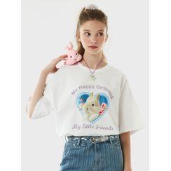rolarola - Heart-Frame Bunny-Printed T-Shirt