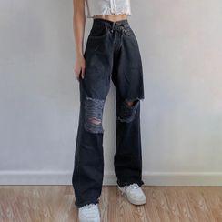 BrickBlack - Distressed Straight Leg Jeans