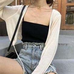 monroll - 纯色吊带背心上衣 / 薄款外套 / 短裤