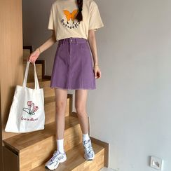 Vallepop - High Waist Denim A-Line Skirt