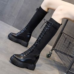 echoheaven - Lace Up Platform Knee-High Boots