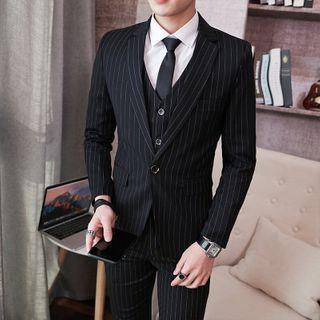 Boham - Set: Pinstriped Blazer + Waistcoat + Dress Pants