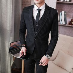 Boham - Set: Pinstriped Blazer + Waistcoat + Dress Pants