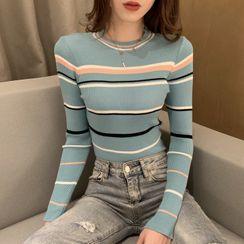 Jeans Kingdom - 條紋長袖針織上衣
