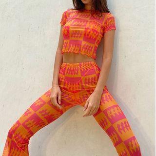 Oonnukal - Set: Short-Sleeve See-Through Print Crop Top + Skinny Pants