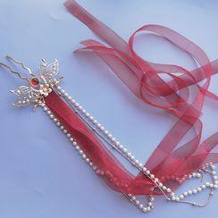 Rivermoon - 仿珍珠蝴蝶结仿珍珠发簪