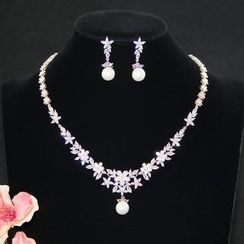 Neostar - Set: Rhinestone Earring + Necklace