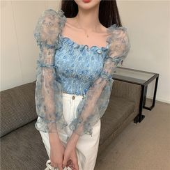 Vallepop - Off Shoulder Mesh Pleated Ruffle Blouse