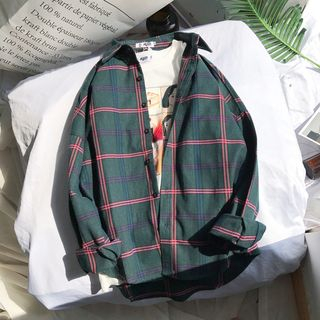 Acrius - Long Sleeve Plaid Casual Shirt