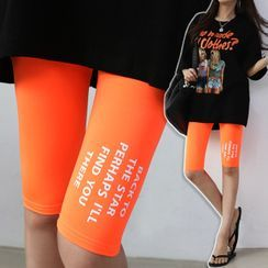 Seoul Fashion - Letter Print Short Leggings