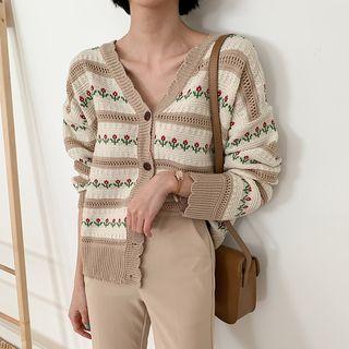 MERONGSHOP - Scallop-Edge Floral Pointelle-Knit Cardigan