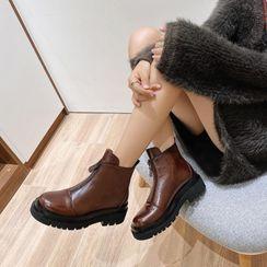 錦洋鞋業 - 真皮厚底短靴