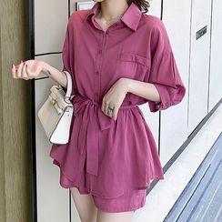 Hiccup - 孕婦套裝: 中袖襯衫連腰帶 + 束腰短褲