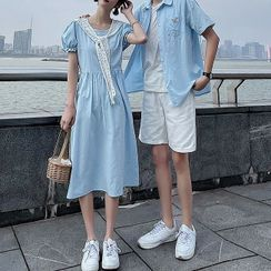 Azure(アズール) - Couple Matching Short-Sleeve Shirt / Midi A-Line Dress / Shorts