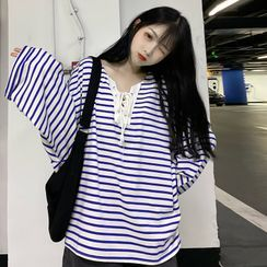 Only Here - Striped Lace Up Long-Sleeve T-Shirt