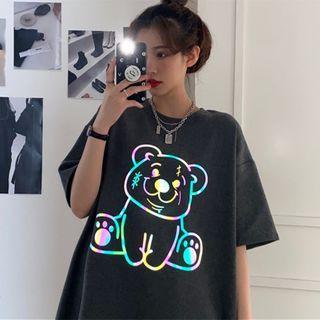 IndiGirl - Elbow-Sleeve Reflective Graphic Print T-Shirt