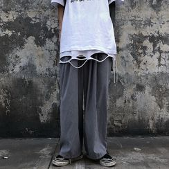 Malnia Home(マルニャホーム) - Couple Matching Plain Wide-Leg Pants
