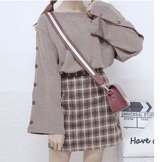 Sisyphi - Button-Up Flared-Sleeve T-Shirt / Plaid High-Waist Mini A-Line Skirt