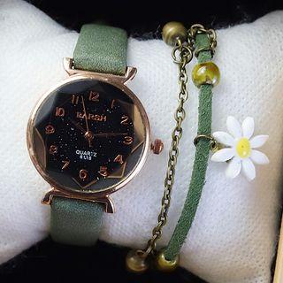 Moska - Faux Leather Strap Watch / Open Bangle / Bracelet / Set
