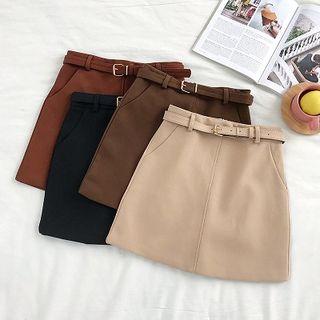 DIYI - Belted High-Waist Mini Skirt