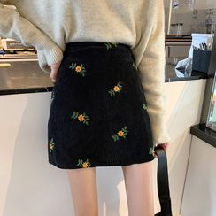 SHOSEEN - Floral Embroidery Corduroy Mini Skirt