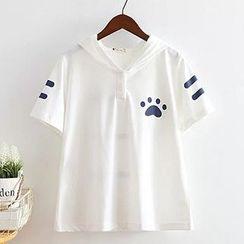 白金天使 - 猫耳帽短袖T恤