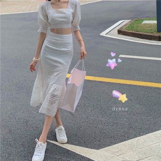 Pobblebonk - Square-Neck Crop Elbow-Sleeve Blouse / Mermaid Skirt