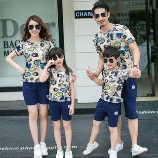 Hinode - 親子裝套裝: 印花短袖T恤 + 短褲