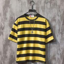 Beiluofs - Striped Short-Sleeve T-Shirt
