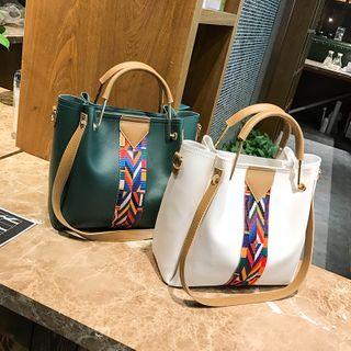 Perlin - Set of 4: Color Block Panel Handbag + Crossbody Bag + Wristlet + Card Wallet