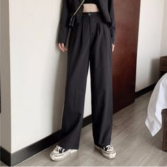 Yako - High-Waist Plain Wide-Leg Pants