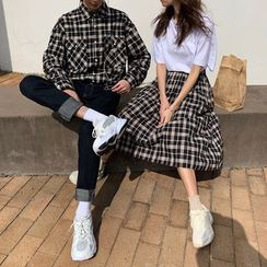 MIKAEL - Couple Matching Short-Sleeve T-Shirt / Plaid Shirt / A-Line Midi Skirt