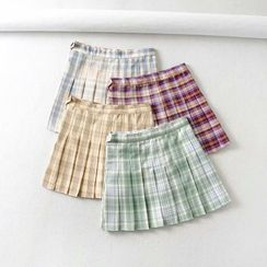 Femil - Plaid Pleated Mini A-Line Skirt