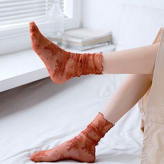 MEIA - 两件套装: 碎花网纱袜子